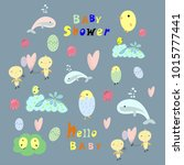 baby shower card set.  | Shutterstock .eps vector #1015777441