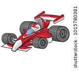 funny cartoon racing race car... | Shutterstock .eps vector #1015780381