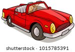 cartoon red retro car with... | Shutterstock .eps vector #1015785391