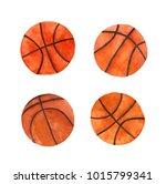 watercolor basketball ball set | Shutterstock . vector #1015799341