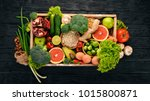 the concept of healthy food.... | Shutterstock . vector #1015800871