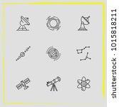 astronomy line icon set solar...   Shutterstock .eps vector #1015818211