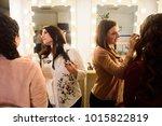 make up artist doing...   Shutterstock . vector #1015822819