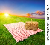 picnic blanket and basket in a...   Shutterstock . vector #101582575