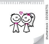 cartoon wedding couple on...