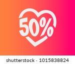 50 off in heart shape | Shutterstock .eps vector #1015838824