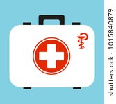 white first aid kit isolated on ... | Shutterstock .eps vector #1015840879