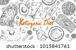 ketogenic diet sketch pencil... | Shutterstock .eps vector #1015841761