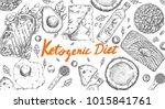 ketogenic diet sketch pencil... | Shutterstock .eps vector #1015841761