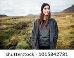 young peaceful woman enjoying... | Shutterstock . vector #1015842781