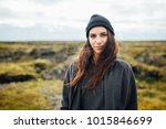 smiling nordic woman enjoying... | Shutterstock . vector #1015846699