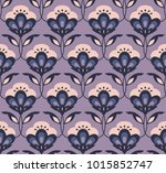 seamless retro floral pattern | Shutterstock .eps vector #1015852747
