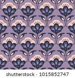 seamless retro floral pattern | Shutterstock .eps vector #1015852747