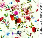 seamless floral background... | Shutterstock .eps vector #1015856011