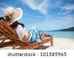Young Woman Enjoying The Sea...