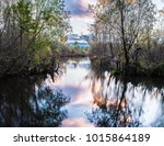 landscape of calm river  trees... | Shutterstock . vector #1015864189