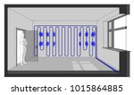 diagram of a room cooled with... | Shutterstock .eps vector #1015864885