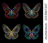 butterfly neon  vintage... | Shutterstock .eps vector #1015867207