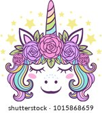 cute little unicorn with roses   Shutterstock .eps vector #1015868659