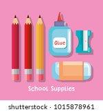 school supplies set icons | Shutterstock .eps vector #1015878961