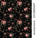 seamless floral pattern in... | Shutterstock .eps vector #1015885609