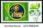 Small photo of BULGARIA - CIRCA 1979: A stamp printed by Bulgaria shows image Teleprinter and Morse Key, circa 1979