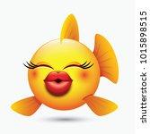 cute kissing fish emoticon ... | Shutterstock .eps vector #1015898515