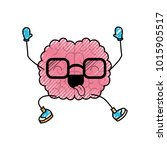 brain cartoon with glasses... | Shutterstock .eps vector #1015905517