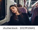 passenger woman sitting in her... | Shutterstock . vector #1015910641