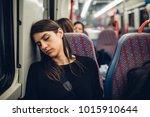 passenger woman sitting in her... | Shutterstock . vector #1015910644