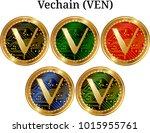set of physical golden coin... | Shutterstock .eps vector #1015955761