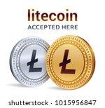 litecoin. accepted sign emblem. ... | Shutterstock .eps vector #1015956847