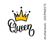 queen crown vector calligraphy... | Shutterstock .eps vector #1015960171