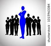 bold blue female leader of a... | Shutterstock .eps vector #1015963384