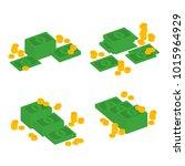 isometric dollars bundles... | Shutterstock .eps vector #1015964929