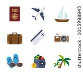 travel flat icons in set... | Shutterstock .eps vector #1015988845
