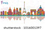 paris france city skyline with... | Shutterstock . vector #1016001397