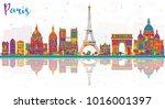 paris france city skyline with... | Shutterstock . vector #1016001397