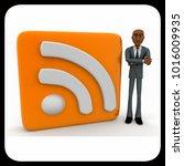 3d man standing beside rss feed ... | Shutterstock . vector #1016009935