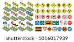 road signs set flat and... | Shutterstock . vector #1016017939