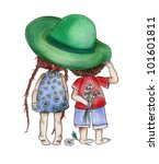 the little boy and the little... | Shutterstock . vector #101601811