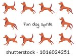 red clever funny dog sprites... | Shutterstock .eps vector #1016024251
