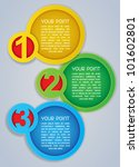 One, Two, Three Circular Progress Labels in colours - stock vector