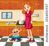 toddler and mother in the... | Shutterstock .eps vector #1016031937