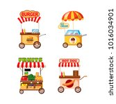 street cart shop icon set.... | Shutterstock .eps vector #1016034901