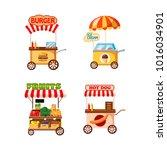 street cart shop icon set.... | Shutterstock .eps vector #1016034901