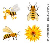 Bee Icon Set. Cartoon Set Of...