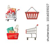 shop basket icon set. cartoon... | Shutterstock .eps vector #1016035027