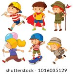 boys  and girls in different... | Shutterstock .eps vector #1016035129