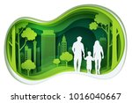 paper carve to family and park... | Shutterstock .eps vector #1016040667